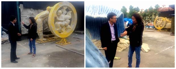 万特涂料qg999钱柜娱乐市场部高经理与雕塑品制造中心张工一起沟通